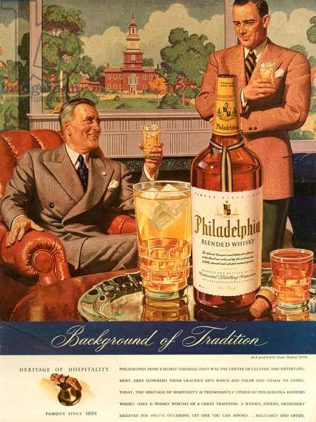 Philadelphia Magazine Advert, 1940s (colour litho)