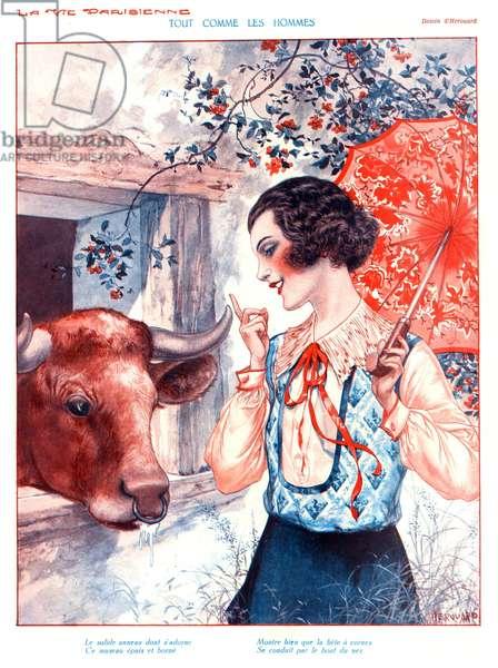 Tout Comme les Hommes, illustration from 'La Vie Parisienne', 1920s (colour litho)