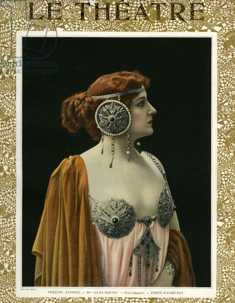 Gilda Darthy as Aspasia, front cover of 'Le Theatre' magazine, 1907 (colour litho)