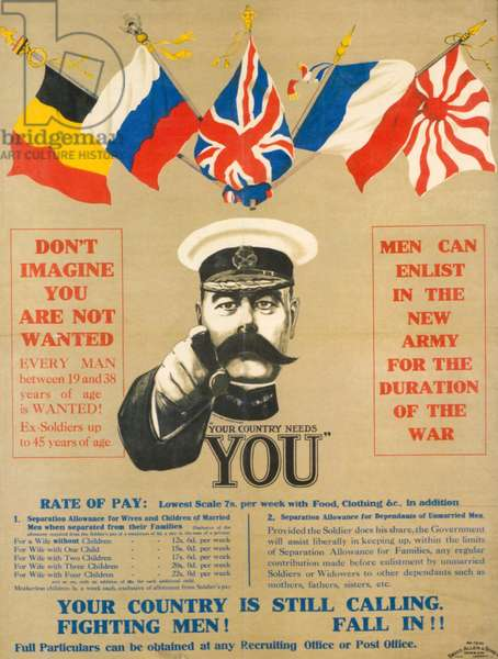 Your Country Needs You, 1914 (colour litho)