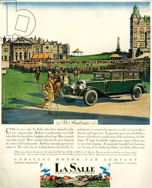 La Salle Magazine Advert, 1928 (colour litho)