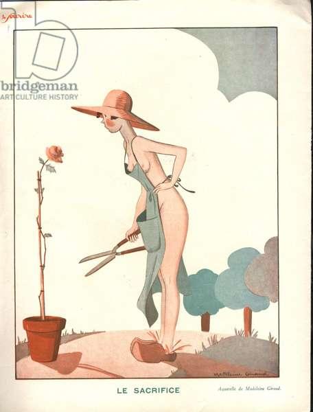 Le sacrifice, illustration from 'Le Sourire', 1920s (colour litho)
