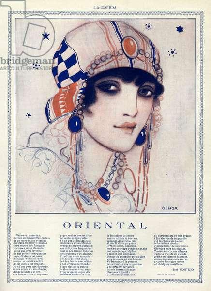 Oriental, illustration from 'La Esfera', 1916 (colour litho)