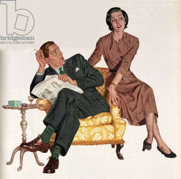Illustration from a women's magazine, 1950 (colour litho)