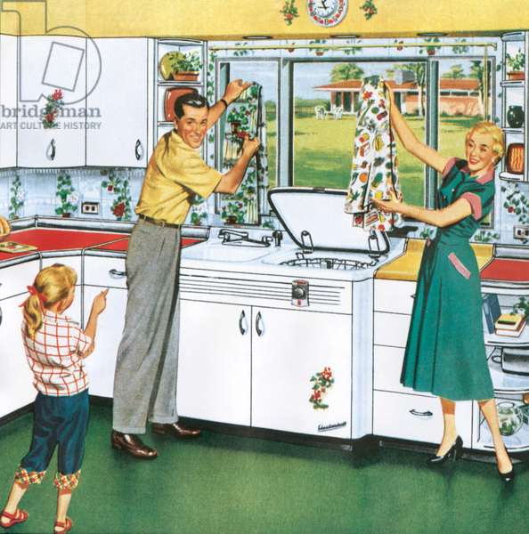 Magazine advert for washing machines, 1950s (colour litho)