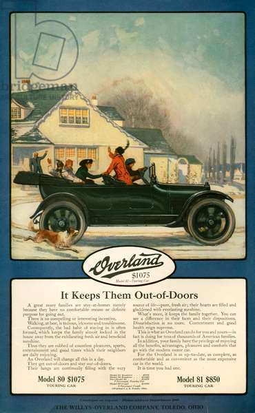 Willys-Overland Magazine Advert, 1920s (colour litho)