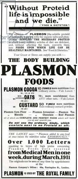 Advertisement for 'Plasmon Foods', 1911 (litho)