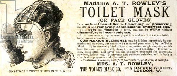 Advertisement for 'Madame A. T. Rowley's Toilet Mask (or Face Gloves)' (litho)
