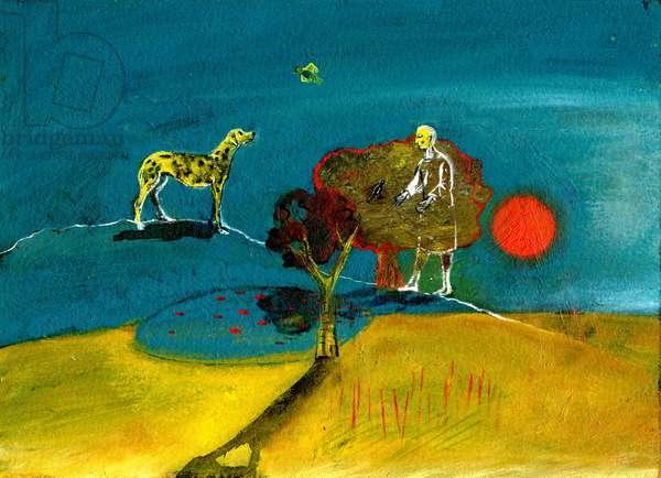 Still Blue Moment, 2004, (oil on paper)