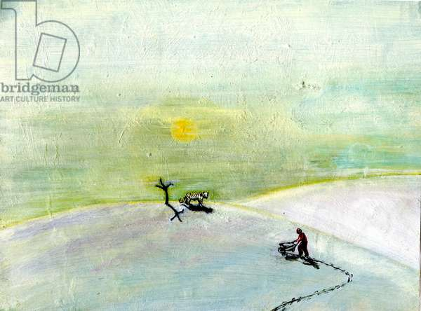 My Wheelbarrow And The Snow Tiger, 2004 (oil on paper)