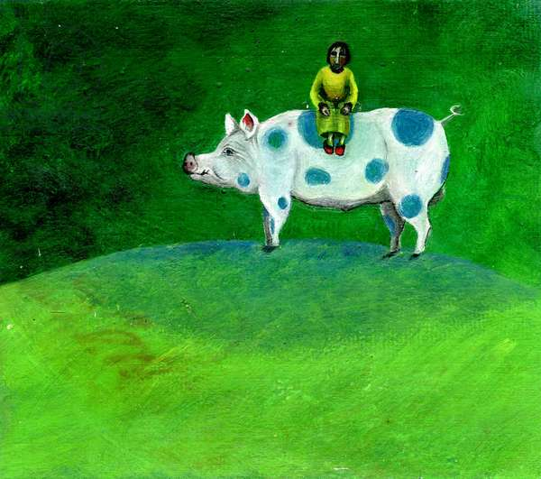 My Blue-spotted Pig Took Me Home, 2003 (oil on canvas)