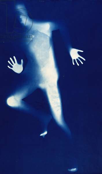 Blue Man Running (photogram)