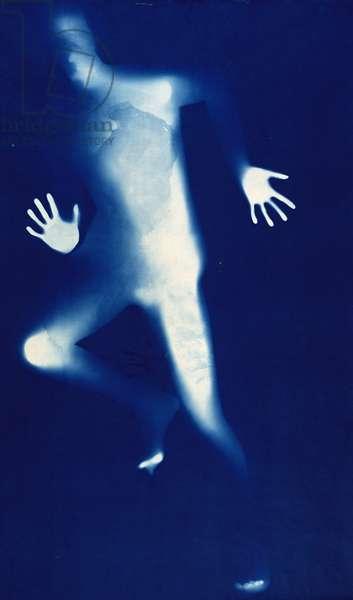 Blue Man Running (photogram)