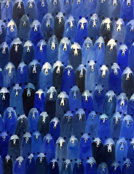 Theatre (Blue Bears at the Theatre), 2016 (oil on canvas)
