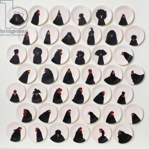 42 Black Chickens, 2014 (oil on board)
