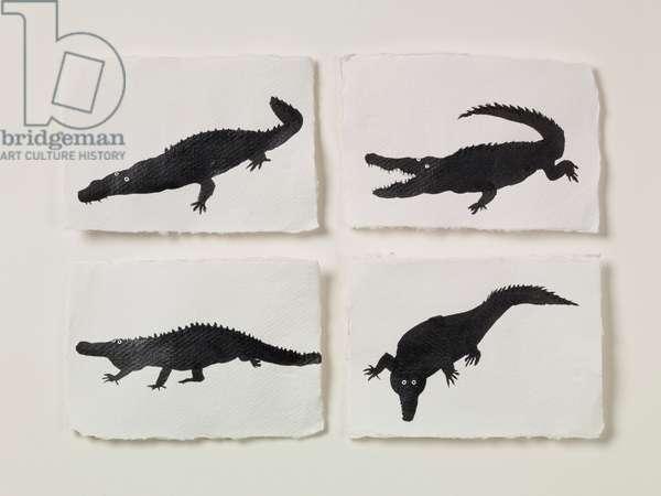 Four Alligators, 2018 (ink on paper)