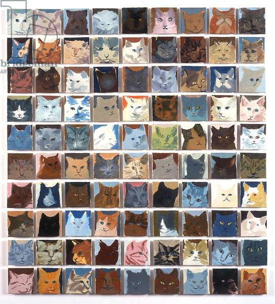 90 Cats, 2010 (oil on board)