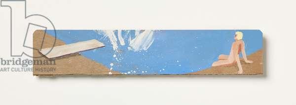 David Hockney sees the Big Splash, 2016 (oil on wooden palette)