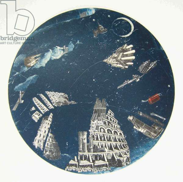 Moonlit Fantasy, 2013 (wood engravings, linocut, solarplate & monotype prints on paper collaged onto convex glass)