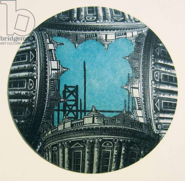 Turquoise Sky, 2012 (wood engraving & linocut prints collaged on convex glass)