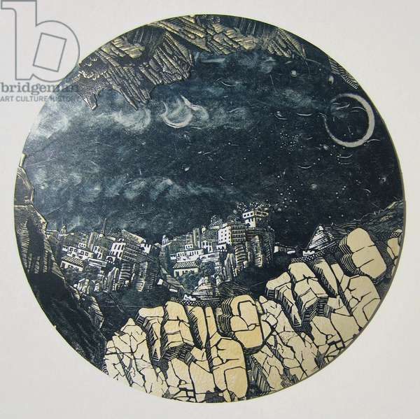 Mountains by Moonlight, 2012 (linocut & monotype print collaged on convex glass)
