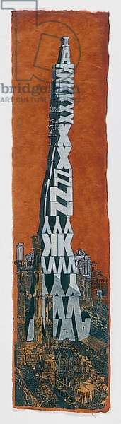 Incongruous Monolith, 2001 (wooden type, linocut, wood engraving, pencil & collage on paper)