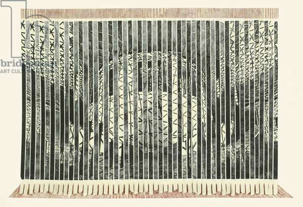 British Museum (verticals), 2005 (wood engraving print collaged on card)