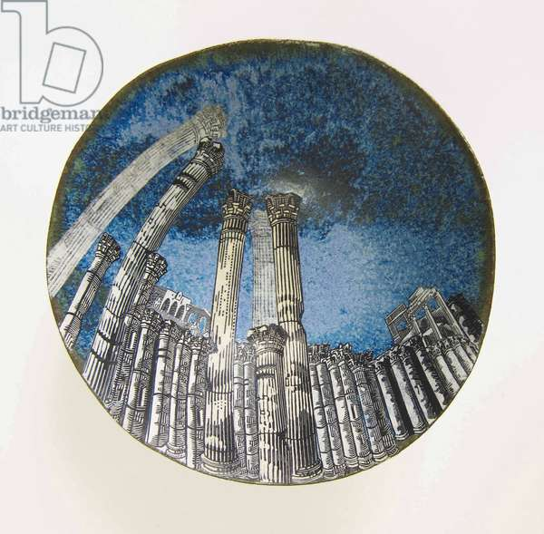 Palmyra: Approaching Storm, 2015 (wood engraving prints on paper collaged onto glazed ceramic bowl)