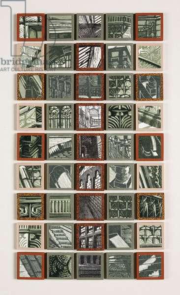 Tiles & Tesselations I, 2007 (linocut & wood engraving prints on paper collaged onto 45 ceramic mosaic tiles)