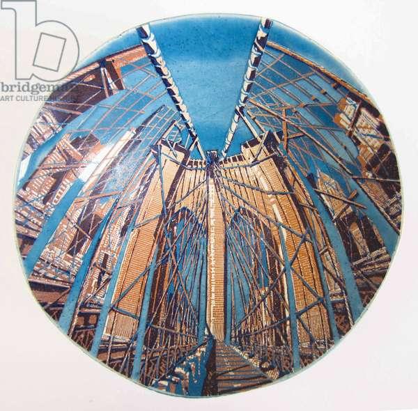 Entering Manhattan, 2015 (wood engraving & linocut print on paper collaged onto glazed ceramic bowl)