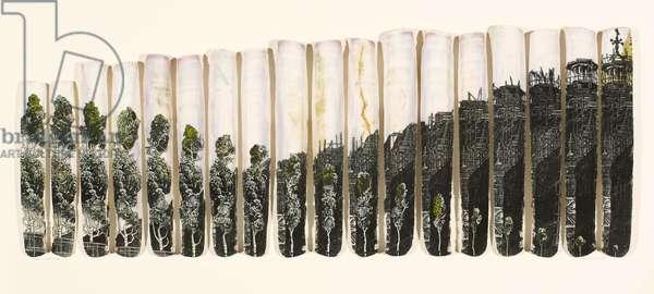 Urban Evolution, 2005 (wood engraving & linocut prints collaged onto 18 razor shells)