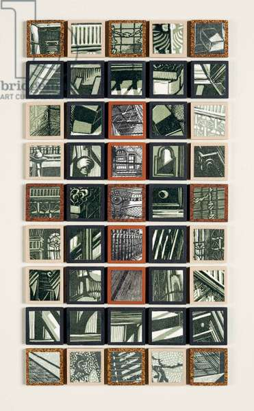 Tiles & Tesselations II, 2007 (linocut & wood engraving prints on paper collaged onto 45 ceramic mosaic tiles)