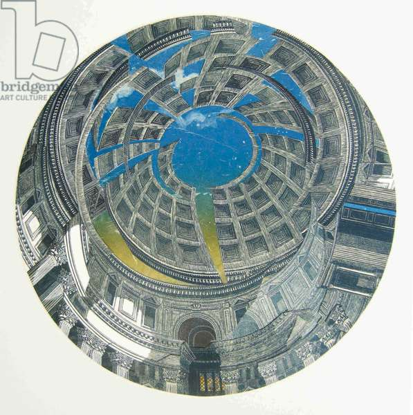 Pantheon – Towards Evening, 2013 (linocut & monotype prints on paper collaged onto convex glass)