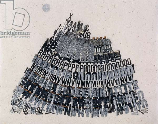 Tower of Babble, 2000 (wooden type, wood engraving and collage on paper)