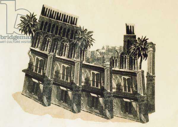 Teatro di Marcello, Perhaps, 1992 (wood engraving, collage and grey wash on paper)