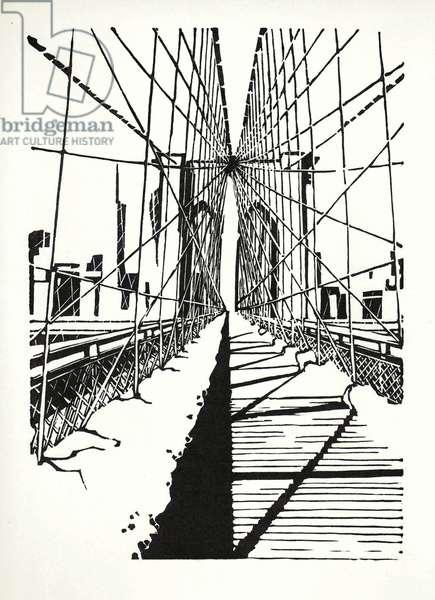 Brooklyn Bridge: Snow Light, 2015 (wood engraving & linocut print on paper)