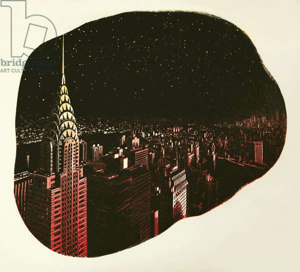 Manhattan Stars, 2017 (wood engraving on paper)