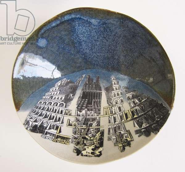 Babylon Rebuilt, 2015 (wood engravings & linocut prints on paper collaged onto glazed ceramic bowl)