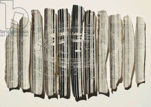 At the End of the Day, 2012 (wood engraving prints on paper collaged onto 11 razor shells)
