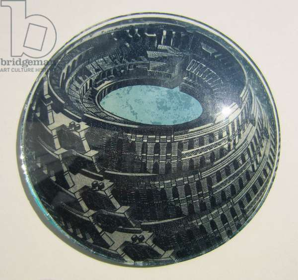 Lake Colosseum, 2012 (wood engravings & screenprint collaged on convex glass)