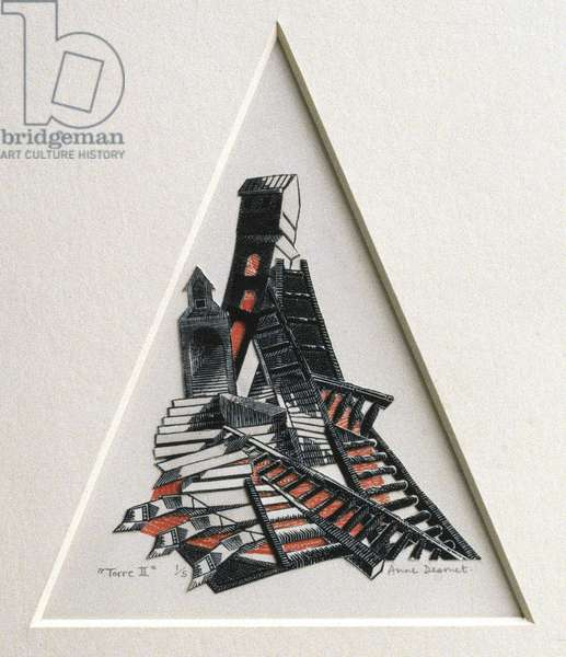 Torre II, 1990 (wood engraving and collage on paper)
