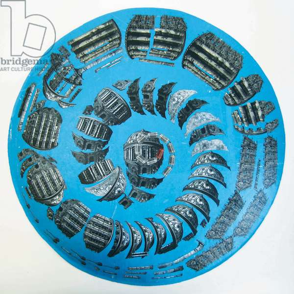 Ammonite, 2015 (wood engravings, linocut & monotype prints on paper, collaged under convex glass)