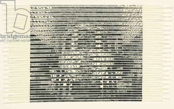 British Museum (horizontals), 2005 (wood engraving print collaged on card)
