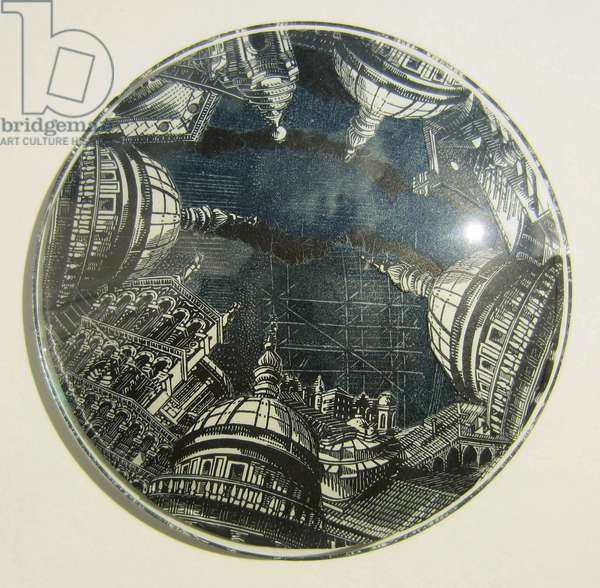Domes/Duomi, 2012 (wood engraving & linocut prints collaged on convex glass)