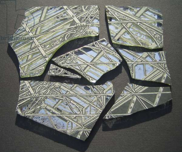 Roof Shattered, 2008 (linocut print on paper collaged onto 7 fragments of broken mirror)