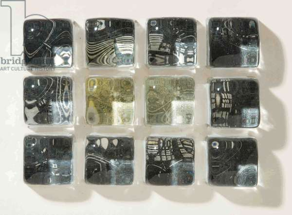 Olympic Memory, 2010 (wood engraving print on paper collaged onto 12 glass cubes)