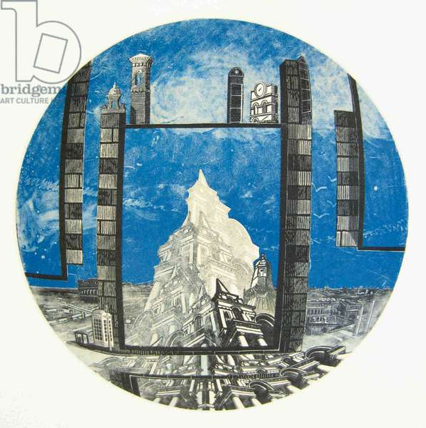 Constructed Space III, 2013 (wood engravings & monotype prints on paper, collaged onto convex glass)