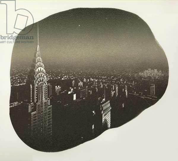 Manhattan Twilight, 2017 (wood engraving & stenciling on paper)