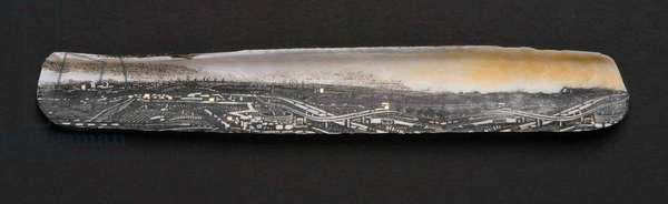 Hackney Marshes – Dawn, 2010 (wood engraving prints on paper & gold leaf collaged on razor shell)