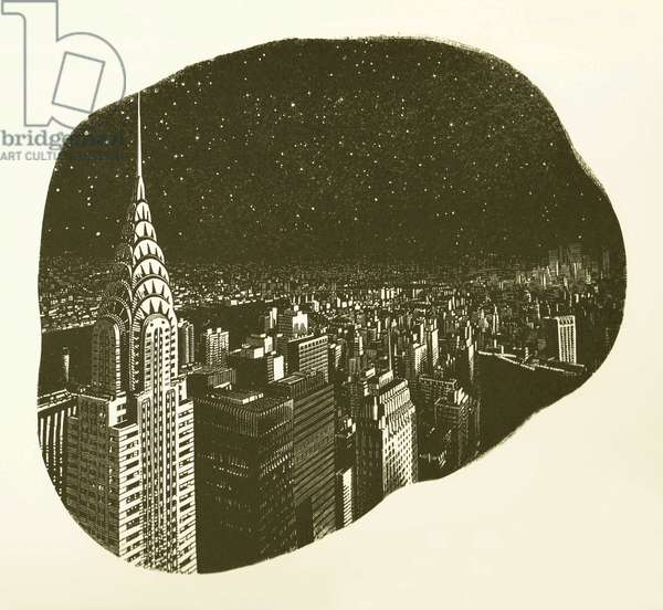 Manhattan Night, 2017 (wood engraving on paper)